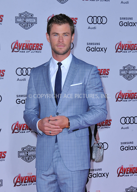 WWW.ACEPIXS.COM<br /> <br /> April 13 2015, LA<br /> <br /> Chris Hemsworth arrives at the Premiere Of Marvel's 'Avengers: Age Of Ultron' at the Dolby Theatre on April 13, 2015 in Hollywood, California.<br /> <br /> <br /> By Line: Peter West/ACE Pictures<br /> <br /> <br /> ACE Pictures, Inc.<br /> tel: 646 769 0430<br /> Email: info@acepixs.com<br /> www.acepixs.com