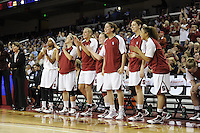 March 14, 2010.  Stanford Cardinal players cheer on their teammates during the finals of the Pac-10 tournament.  Stanford defeated UCLA, 70-46.