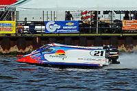 Jose Mendana (#21) and Tim Seebold (#16) F1/Formula 1 class.Bay City River Roar, Bay City,Michigan USA.26-2821 June, 2009..©F. Peirce Williams 2009 USA.F.Peirce Williams.photography.ref: RAW (.NEF) File Available