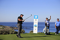 Phil Mickelson (USA) tees off the 4th tee at Spyglass Hill during Thursday's Round 1 of the 2018 AT&amp;T Pebble Beach Pro-Am, held over 3 courses Pebble Beach, Spyglass Hill and Monterey, California, USA. 8th February 2018.<br /> Picture: Eoin Clarke | Golffile<br /> <br /> <br /> All photos usage must carry mandatory copyright credit (&copy; Golffile | Eoin Clarke)