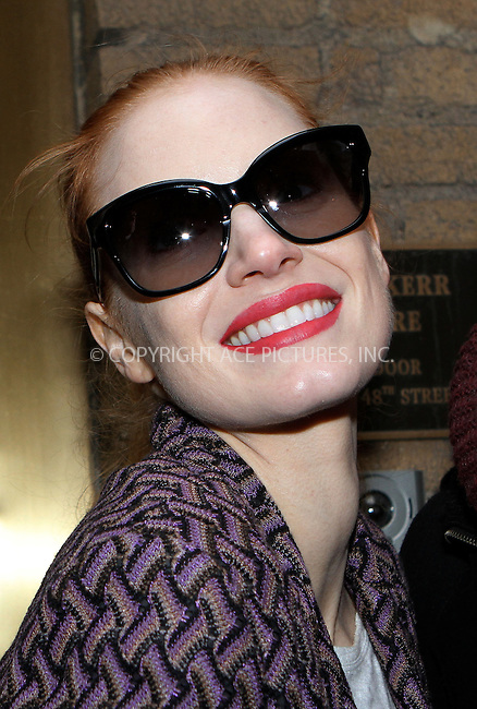 WWW.ACEPIXS.COM....February 6 2013, New York City....Actress Jessica Chastain arrives at the Walter Kerr Theatre for a performance of 'The Heiress' on February 6 2013 in New York City....By Line: Nancy Rivera/ACE Pictures......ACE Pictures, Inc...tel: 646 769 0430..Email: info@acepixs.com..www.acepixs.com