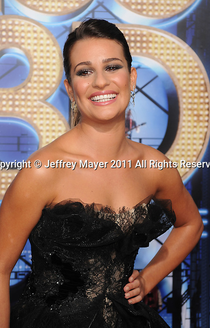 """WESTWOOD, CA - AUGUST 06: Lea Michele arrives at the """"Glee: The 3D Concert Movie"""" Los Angeles Premiere at the Regency Village Theatre on August 6, 2011 in Westwood, California."""