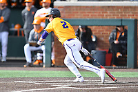 Western Illinois Dillon Sears (2) swings at a pitch during a game against the University of Tennessee at Lindsey Nelson Stadium on February 15, 2020 in Knoxville, Tennessee. The Volunteers defeated Leathernecks 19-0. (Tony Farlow/Four Seam Images)