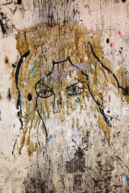 Textured and painted door, Rio Sidra, Kuna Yala, San Blas Islands, Panama