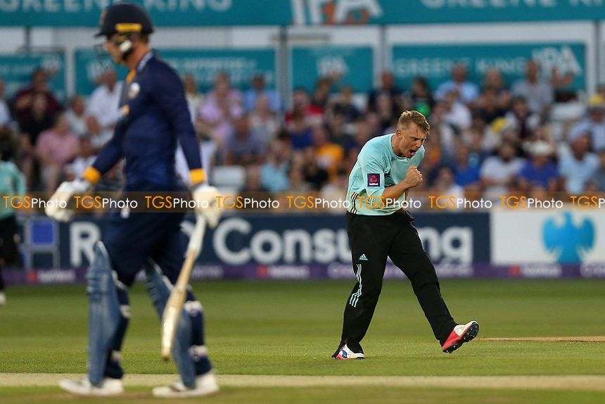 Scott Borthwick of Surrey celebrates taking the wicket of Tom Westley during Essex Eagles vs Surrey, NatWest T20 Blast Cricket at The Cloudfm County Ground on 7th July 2017