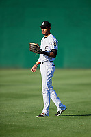 Jackson Generals right fielder Victor Reyes (5) warms up before a game against the Chattanooga Lookouts on April 27, 2017 at The Ballpark at Jackson in Jackson, Tennessee.  Chattanooga defeated Jackson 5-4.  (Mike Janes/Four Seam Images)