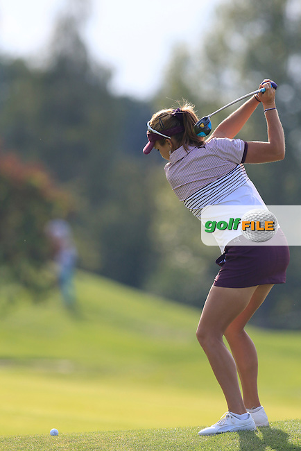 Lexi Thompson (USA) plays her 2nd shot on the 15th hole during Friday's Round 2 of the LPGA 2015 Evian Championship, held at the Evian Resort Golf Club, Evian les Bains, France. 11th September 2015.<br /> Picture Eoin Clarke | Golffile