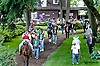 Colby Lavergne leading the field before The Obeah Stakes (gr 3) at Delaware Park on 6/15/13