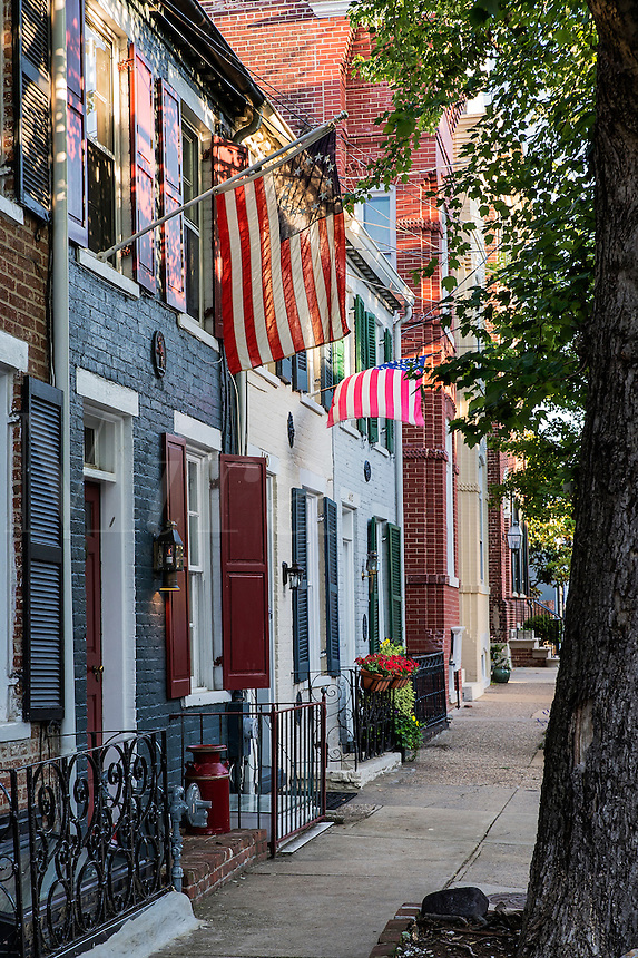 Town houses in historic Old Town, Alexandria, Virginia, USA