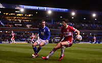 Geroge Friend of Middlesbrough in action with Maikel Kieftenbeld of Birmingham during the Sky Bet Championship match between Birmingham City and Middlesbrough at St Andrews, Birmingham, England on 6 March 2018. Photo by Bradley Collyer / PRiME Media Images.