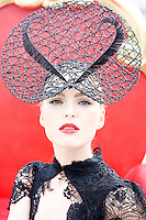Model Sarah Morrissey is pictured in The RDS Dublin wearing a hat by Irish designer Michael Leon to mark Ultimate Girls  Day Out taking place this weekend at the RDS, Ballsbridge. Sarah will also model in the Irish Tatler Designer Showcase featuring major stars of the Irish fashion world including John Rocha, Paul Costello, Joanne Hynes, Deborah Veale, and Tim Ryan on Friday evening. Picture James Horan/Collins Photos