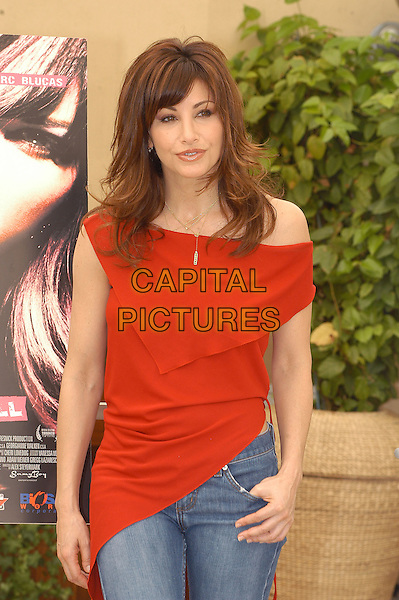 GINA GERSHON.Prey for Rock N Roll photocall.May 31st, 2004.half length, half-length, red top, off the shoulder, sleeveless.www.capitalpictures.com.sales@capitalpictures.com.© Capital Pictures.