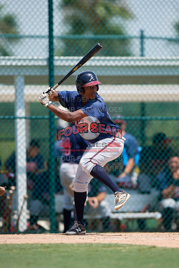GCL Braves second baseman Jeremy Fernandez (79) at bat during a game against the GCL Pirates on July 26, 2017 at Pirate City in Bradenton, Florida.  GCL Braves defeated the GCL Pirates 12-5.  (Mike Janes/Four Seam Images)