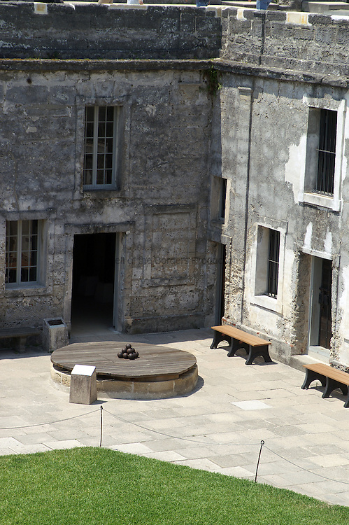 The well for the Castillo de San Marcos is located in the northeast corner of the central plaza.  The Castillo de San Marcos located in St. Augustine, Florida is the oldest masonary fort in the country.