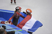 OLYMPIC GAMES: PYEONGCHANG: 22-02-2018, Gangneung Ice Arena, Short Track, A-Final 1000m Ladies, Kim Boutin (CAN) and Olympic Champion Suzanne Schulting (NED), ©photo Martin de Jong