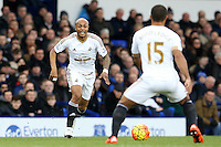 Andre Ayew during the Barclays Premier League match between Everton and Swansea City played at Goodison Park, Liverpool
