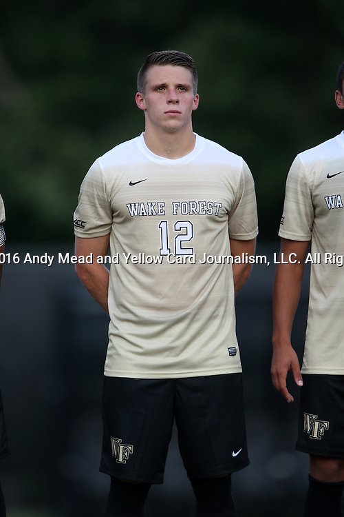 10 September 2016: Wake Forest's Brad Dunwell. The Wake Forest University Demon Deacons hosted the University of Virginia Cavaliers in a 2016 NCAA Division I Men's Soccer match. Wake Forest won the game 1-0 in sudden death overtime.