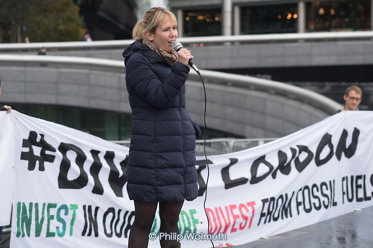 Emma Hughes, Switched on London campaigner.  Londoners protest outside City Hall  to demand Sadiq Khan keeps his climate promises.