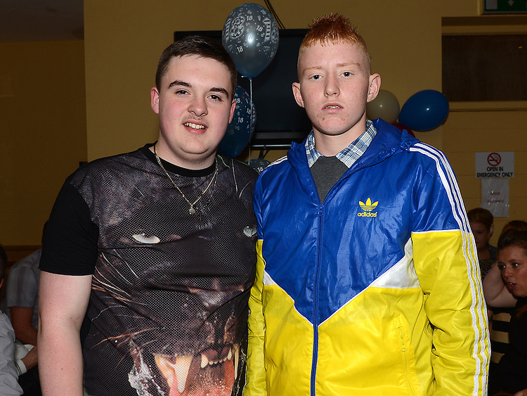 Dean Simpson celebrating his 18th birthday in the Thatch with friend Tony Maguire. Photo:Colin Bell/pressphotos.ie