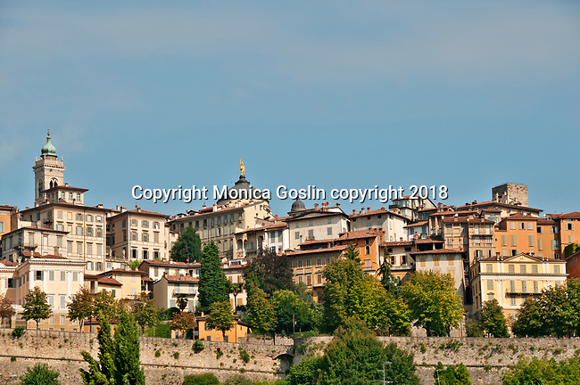 Looking up at Citta Alta, the upper city of Bergamo Italy