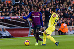 Ousmane Dembele of FC Barcelona (L) in action against Santi Cazorla of Villarreal (L) during the La Liga 2018-19 match between FC Barcelona and Villarreal at Camp Nou on 02 December 2018 in Barcelona, Spain. Photo by Vicens Gimenez / Power Sport Images