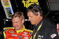 Clint Bowyer, (#15) 5-hour ENERGY Camry and team owner Michael Waltrip.