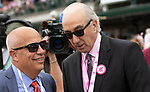 LOUISVILLE, KY - MAY 04: Trainer Mark Casse and owner of #1, Salty, Gary Barber celebrate their win in the La Troienne an undercard race on Kentucky Oaks Day at Churchill Downs on May 4, 2018 in Louisville, Kentucky. (Photo by Sue Kawczynski/Eclipse Sportswire/Getty Images)