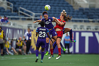 Orlando, FL - Sunday June 26, 2016: Josee Belanger, Lindsey Horan  during a regular season National Women's Soccer League (NWSL) match between the Orlando Pride and the Portland Thorns FC at Camping World Stadium.