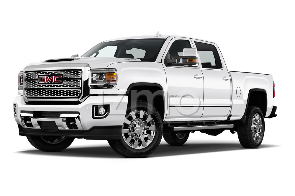 Stock pictures of low aggressive front three quarter view of a 2019 GMC Sierra 2500 Denali 4 Door Pick Up