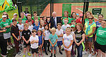 Minister of State, Department of Rural Affairs Michael Ring TD is pictured with members of Westport Tennis Club as he performed the official opening at the upgraded courts at the club.<br />
