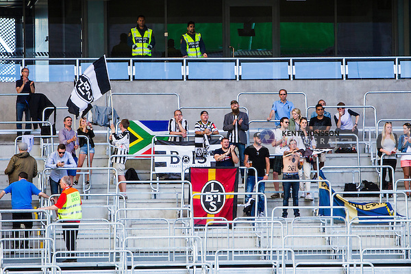 Stockholm 2014-06-08 Fotboll Superettan Hammarby IF - Landskrona BoIS  :  <br /> Landskronas supportrar p&aring; plats i Tele2 Arena<br /> (Foto: Kenta J&ouml;nsson) Nyckelord:  Superettan Tele2 Arena Hammarby HIF Bajen Landskrona BoIS supporter fans publik supporters