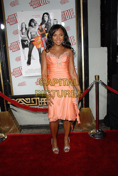 "ASHANTI.Los Angeles Premiere of ""John Tucker Must Die"" held at The Grauman's Chinese Theatre in Hollywood, California  .July 25th, 2006.Ref: DVS.full length coral peach pink satin dress silver shoes strapless.www.capitalpictures.com.sales@capitalpictures.com.©Debbie VanStory/Capital Pictures"