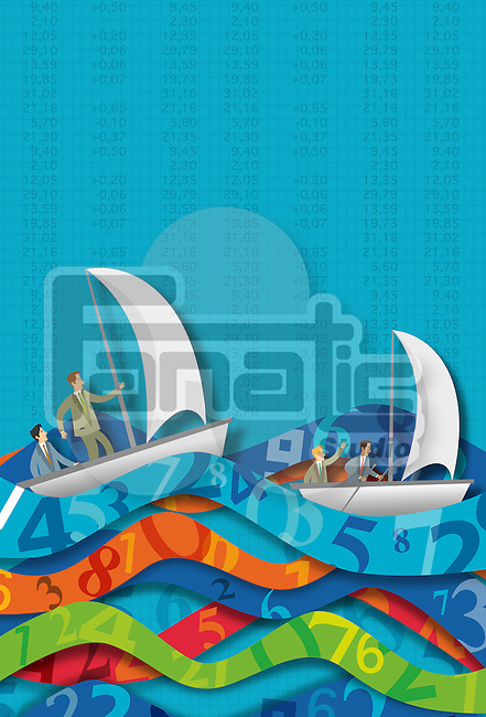 Illustrative concept of business people in sailboats on number waves representing ups and downs of stock market