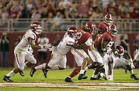 Hawgs Illustrated/BEN GOFF <br /> De'Jon Harris, Arkansas linebacker, sacks Alabama quarterback Jalen Hurts in the second quarter Saturday, Oct. 14, 2017, at Bryant-Denny Stadium in Tuscaloosa, Ala.