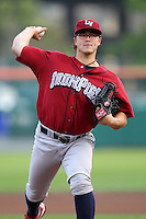 Lehigh Valley IronPigs starting pitcher Vance Worley during a game vs. the Buffalo Bisons at Coca-Cola Field in Buffalo, New York;  August 1, 2010.  Buffalo defeated Lehigh Valley 2-1 in 10 innings.  Photo By Mike Janes/Four Seam Images