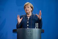 Berlin, 20130508CB022, Bundeskanzlerin Angela Merkel (CDU) am Mittwoch (08.05.13) im Bundeskanzleramt in Berlin bei einer Pressebegegnung mit dem Staatspräsidenten der Republik Niger, Mahamadou Issoufou (nicht im Bild).