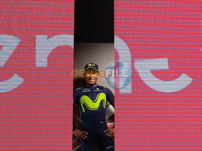Race leader Nairo Quintana (COL) Movistar Team retains the Maglia Rosa at the end of Stage 20 of the 100th edition of the Giro d'Italia 2017, running 190km from Pordenone to Asiago, Italy. 27th May 2017.<br /> Picture: LaPresse/Simone Spada | Cyclefile<br /> <br /> <br /> All photos usage must carry mandatory copyright credit (&copy; Cyclefile | LaPresse/Simone Spada)