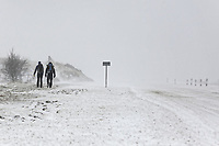 WEATHER PICTURE WALES<br /> Pictured: Two people commence hill walking by the A470 road in Storey Arms, Brecon Beacons in south Wales, UK. Friday 02 March 2018<br /> Re: Beast from the East and Storm Emma has been affecting most parts of the UK.