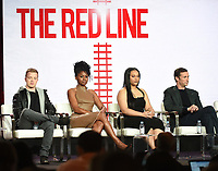 "PASADENA, CA - JANUARY 30: (L-R) Noel Fisher, Emayatzy Corinealdi, Aliyah Royale, and Noah Wyle of ""The Red Line"" attend the CBS portion of the 2019 Television Critics Association Winter Press Tour at the Langham Huntington on January 30, 2019, in Pasadena, California. (Photo by Frank Micelotta/PictureGroup)"