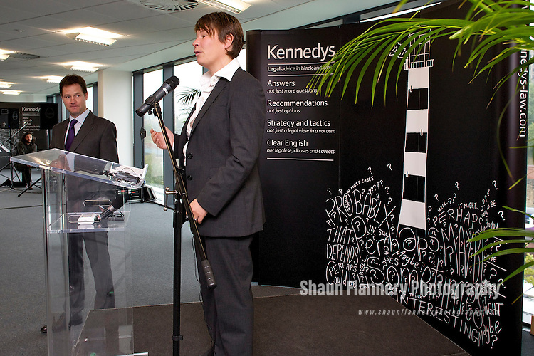 Pix: Shaun Flannery/shaunflanneryphotography.com...COPYRIGHT PICTURE>>SHAUN FLANNERY>01302-570814>>07778315553>>..1st October 2010...........Opening of Kennedys new offices, Sheffield by the Deputy Prime Minister Nick Clegg..Speech by Suzanne Liversidge.