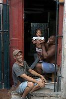 street scene with family in Havana, Cuba
