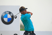 Thongchai Jaidee (THA) tees off the 2nd tee during Thursday's Round 1 of the 2014 BMW Masters held at Lake Malaren, Shanghai, China 30th October 2014.<br /> Picture: Eoin Clarke www.golffile.ie