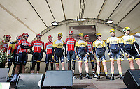 the 2 &quot;Lotto&quot; World Tour teams together on the start podium: Team Lotto-Soudal &amp; Team LottoNL-Jumbo<br /> <br /> 67th Kuurne-Brussels-Kuurne 2015