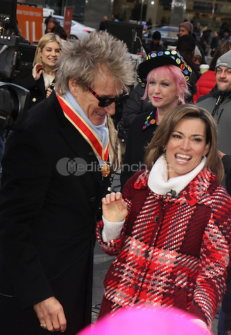 NEW YORK, NY - JANUARY 25: Kit Hoover,   Rod Stewart pictured on the set of Access Hollywood in New York City on January 25, 2017. Credit: RW/MediaPunch