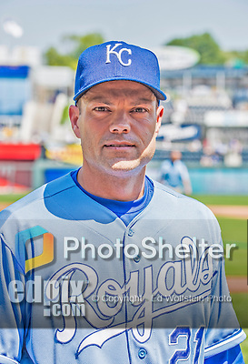 25 August 2013: Kansas City Royals utilityman Jamey Carroll poses on the field prior to a game against the Washington Nationals at Kauffman Stadium in Kansas City, MO. The Royals defeated the Nationals 6-4, to take the final game of their 3-game inter-league series. Mandatory Credit: Ed Wolfstein Photo *** RAW (NEF) Image File Available ***