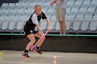 New Zealand's Nia Emrys in action during the World Floorball Championships 2017 Qualification for Asia Oceania Region - New Zealand v Malaysia at ASB Sports Centre , Wellington, New Zealand on Saturday 4 February 2017.<br /> Photo by Masanori Udagawa<br /> www.photowellington.photoshelter.com.