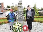 Leonard Hatrick and Eileen McLean at the War memorial service at the Fair Green Ardee.  Photo:Colin Bell/pressphotos.ie