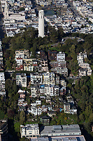 aerial photograph North Beach, Telegraph Hill, Coit Tower, San Francisco, California