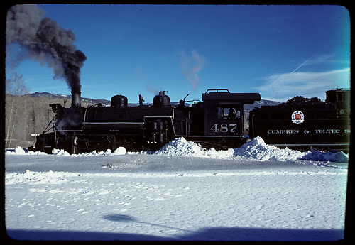 Fireman's-side view of K-36 #487 in Chama yards.<br /> C&amp;TS  Chama, NM  prior to 2/1978