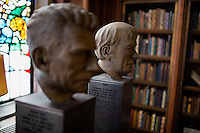 The Terence Connolly, S.J., Francis Thompson Room, in the Honorable John J. Burns Library at Boston College has busts on display of Ireland's four Nobel literature laureates Samuel Beckett (left), Seamus Heaney (right), George Bernard Shaw, and William Butler Yeats.
